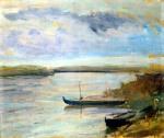 FALCHI PARIDE Barche sul Po 1958 olio su tavola 41x51 copia