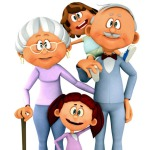 3D kids with grandparents - isolated over a white background